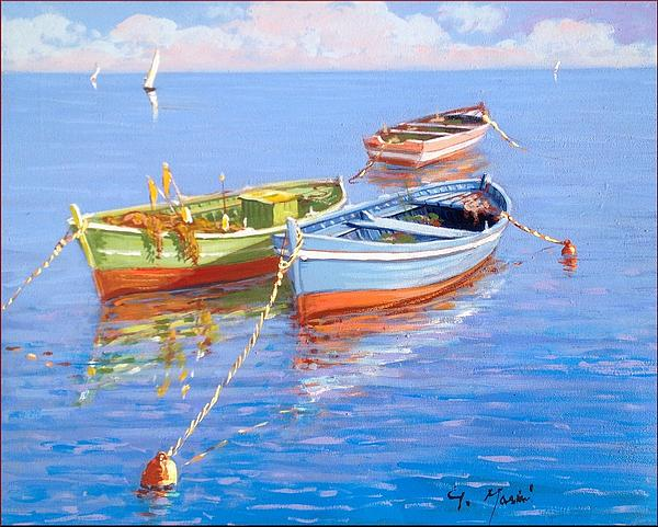 Fishing boats mediterranean sea by gino masini for Fishing boat painting
