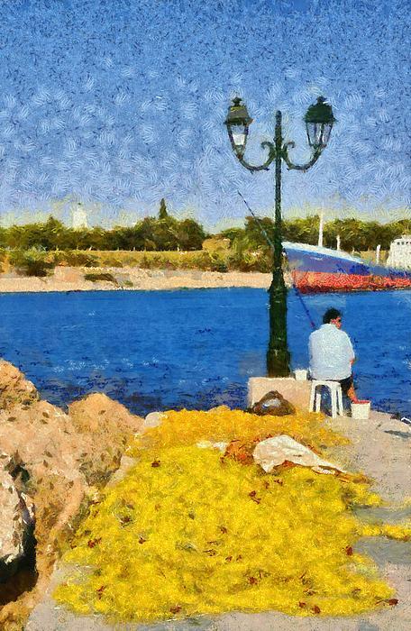 Fishing In Spetses Island Print by George Atsametakis