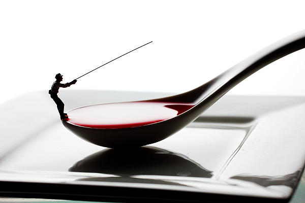 Fishing On The Spoon And The Plate Little People On Food Print by Paul Ge