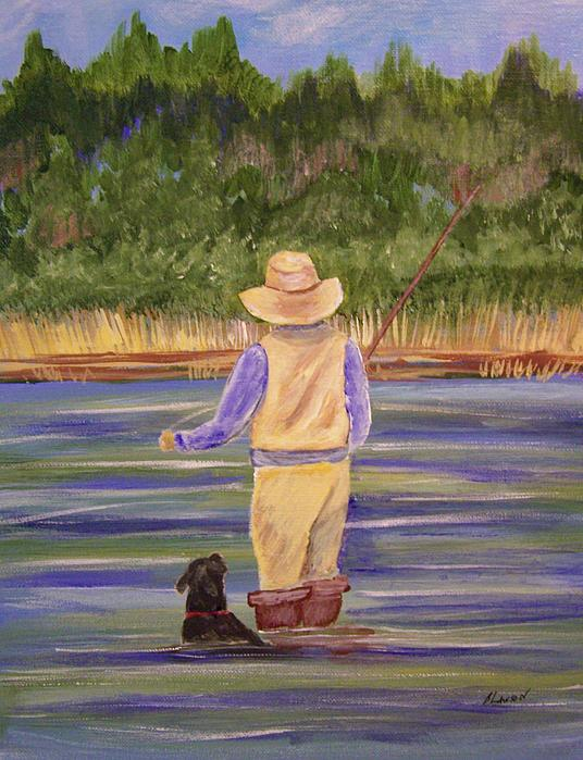 Fishing With Dog Print by Belinda Lawson