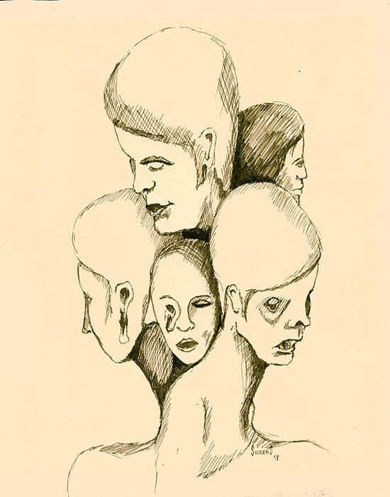 Five Headed Figure Print by Sam Sidders