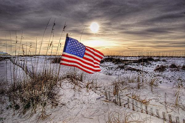 Flag On The Beach Print by Michael Thomas