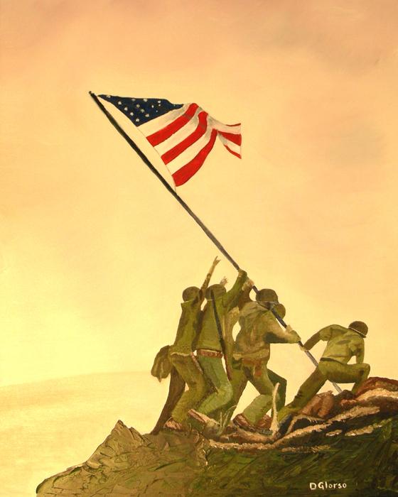 Flag Raising At Iwo Jima Print by Dean Glorso