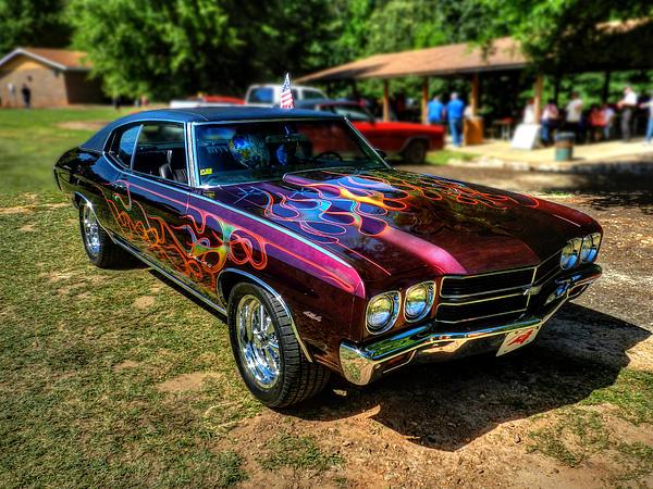 Flamed '70 Chevy Malibu 001 Print by Lance Vaughn