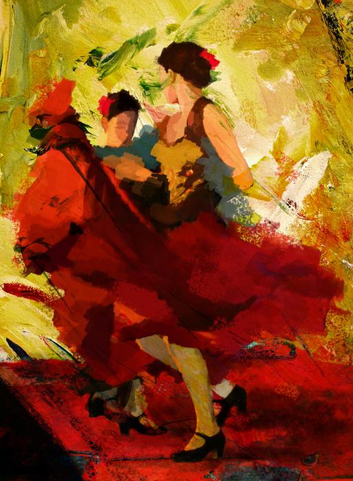 Flamenco Dancer 019 Print by Catf