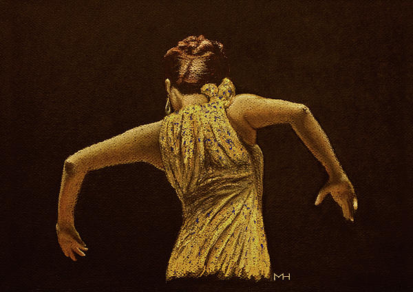 Flamenco Dancer In Yellow Dress Print by Martin Howard