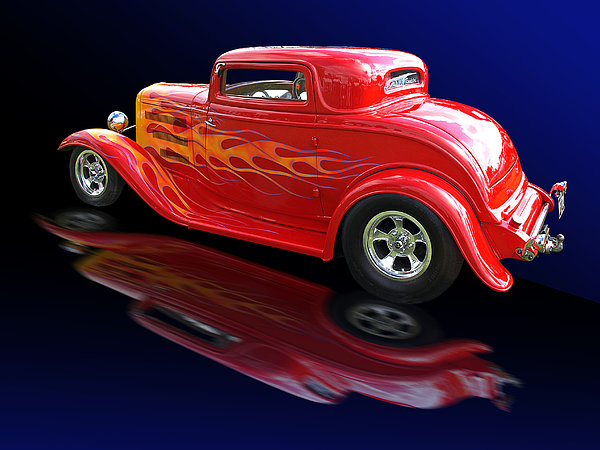 Flaming Roadster Print by Gill Billington