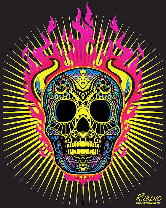 Flaming Skull Print by Tony Rubino