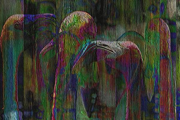 Flamingos Print by Jack Zulli