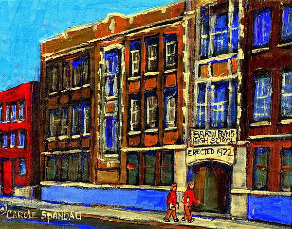 Flashback To Sixties Montreal Memories Baron Byng High School Vintage Landmark St. Urbain City Scene Print by Carole Spandau