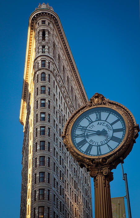 Flatiron Clock Print by Inge Johnsson