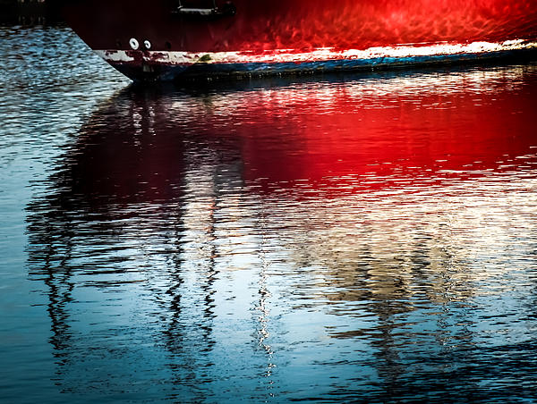 Red Boat Serenity Print by Karen Wiles
