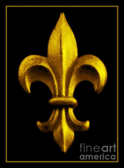 Fleur De Lis In Black And Gold Print by Carol Groenen