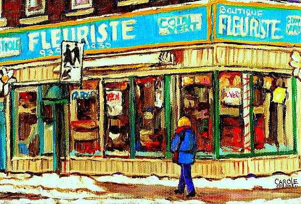 Fleuriste Notre Dame Flower Shop Paintings Carole Spandau Winter Scenes Print by Carole Spandau