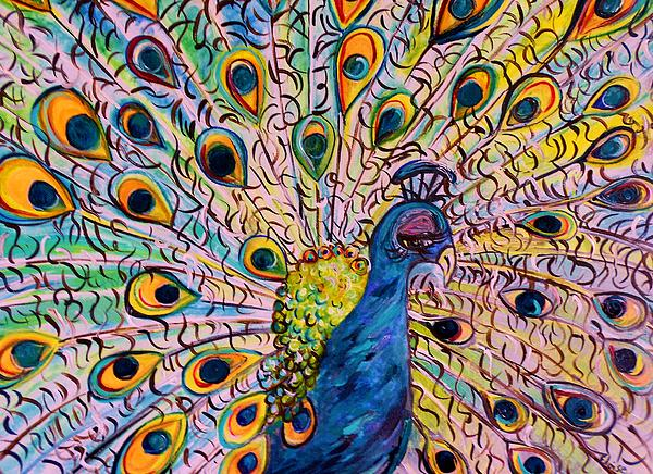 Flirty Peacock Print by Eloise Schneider