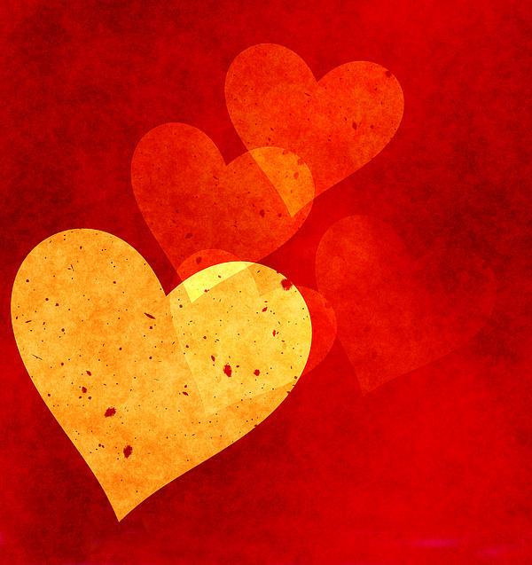 Floating Hearts Print by Kurt Van Wagner