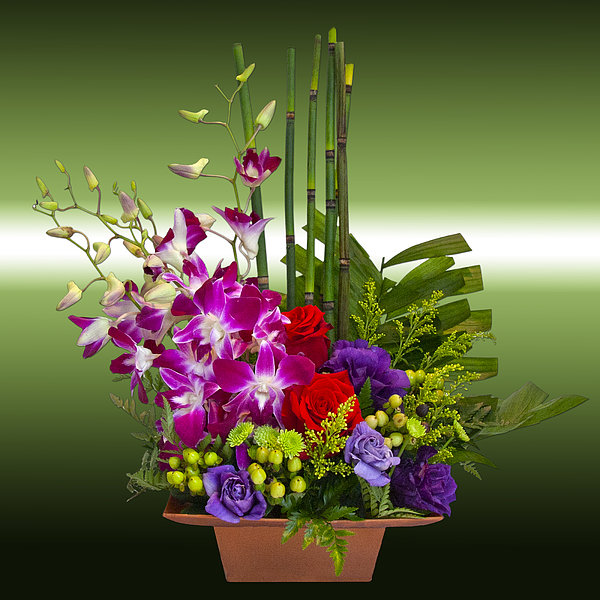 Floral Arrangement - Green Print by Chuck Staley