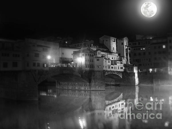 Florence Italy - Ponte Vecchio At Night Print by Gregory Dyer