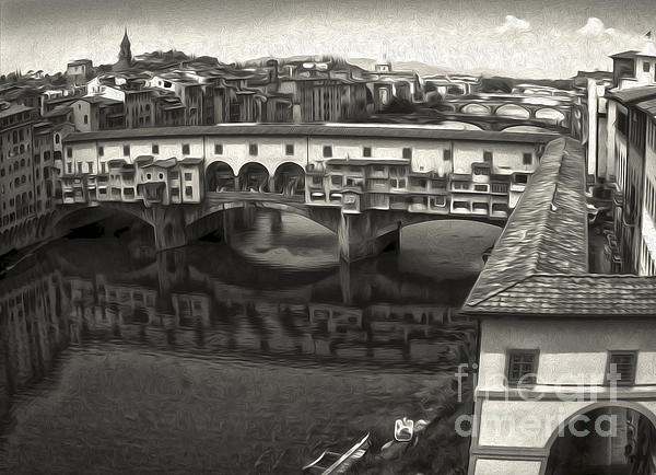 Florence Italy - Ponte Vecchio In Sepia Print by Gregory Dyer