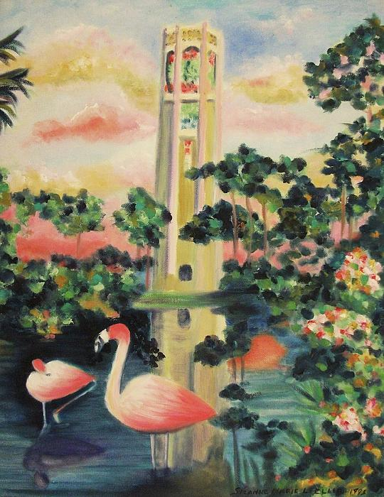 Florida Flamingo's Print by Suzanne  Marie Leclair