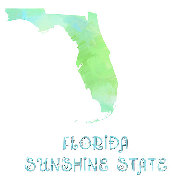 Florida - Sunshine State - Map - State Phrase - Geology Print by Andee Design