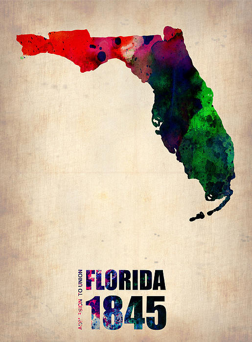 Florida Watercolor Map Print by Naxart Studio