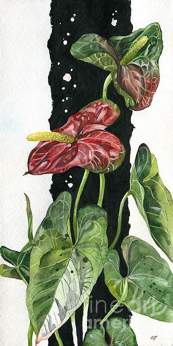Flower Anthurium 01 Elena Yakubovich Print by Elena Yakubovich
