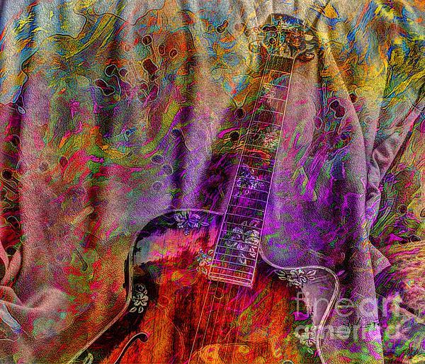 Flower Power Digital Guitar Art By Steven Langston Print by Steven Lebron Langston