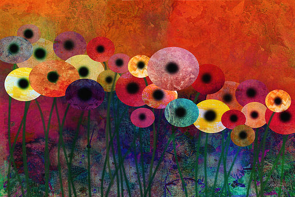 Flower Power Five Abstract Art Print by Ann Powell