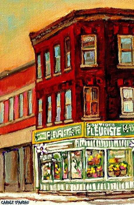Flower Shop Painting Boutique Coin Vert Fleuriste Montreal Central 3403 Rue Notre-dame Scenes  Print by Carole Spandau