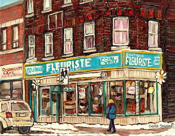 Flower Shop Rue Notre Dame Street Coin Vert Fleuriste Boutique Montreal Winter Stroll Scene Print by Carole Spandau