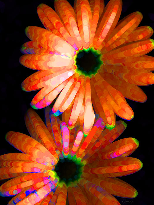 Flower Study 5 - Vibrant Orange By Sharon Cummings Print by Sharon Cummings