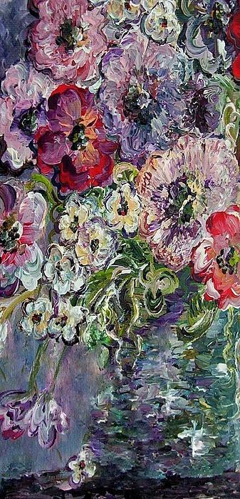 Flowers In An Antique Blue Vase Print by Eloise Schneider