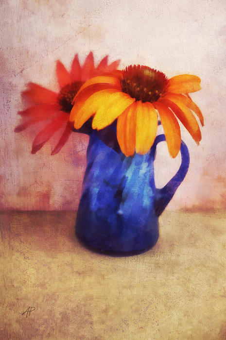 Flowers In  Blue Vase Print by Ann Powell