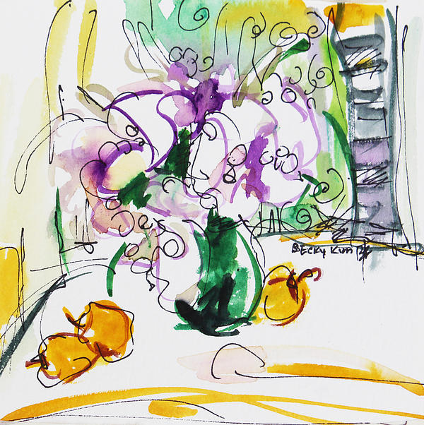 Flowers In Green Vase Print by Becky Kim