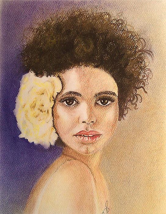 Flowers In Her Hair II. Print by Paula Steffensen