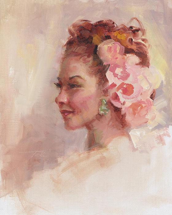 Flowers In Her Hair - Portrait Print by Talya Johnson