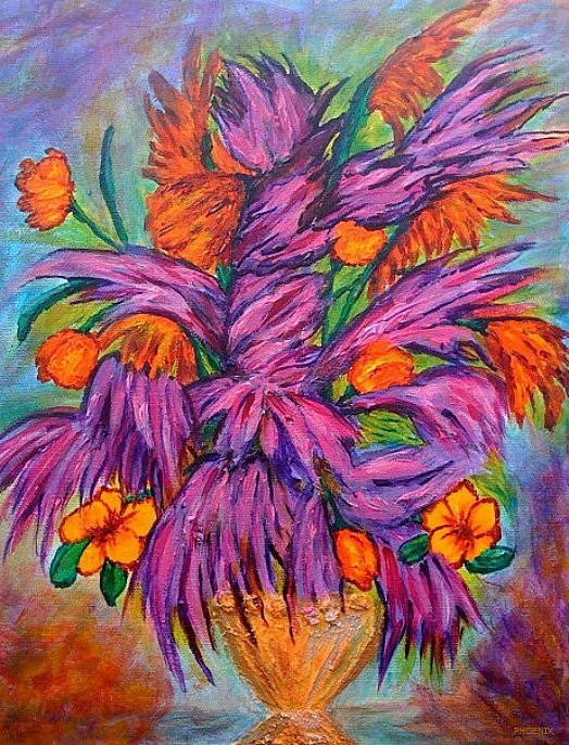 Flowers Of Passion Print by Phoenix The Moody Artist