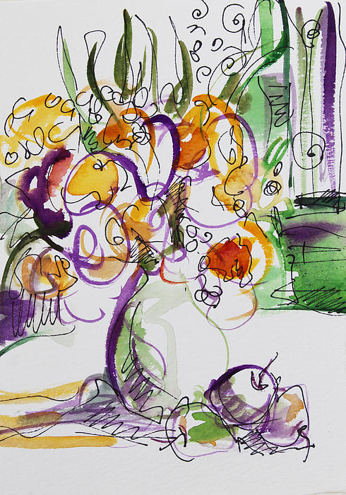 Flowers With Purple Hint Print by Becky Kim