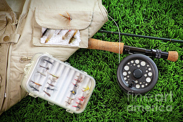 Fly Fishing Rod And Asessories Print by Sandra Cunningham