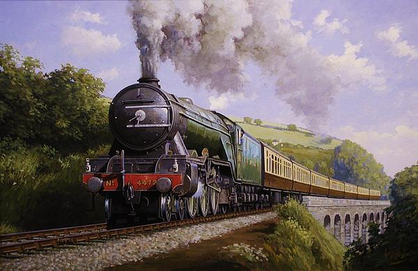 Flying Scotsman On Broadsands Viaduct. Print by Mike  Jeffries