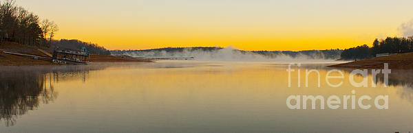 Fog Over The Lake Print by Michael Waters