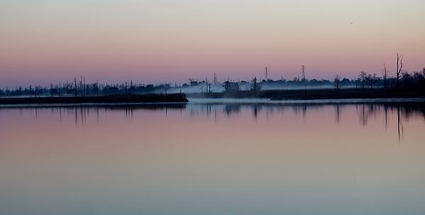 Fog Over The River Print by Cynthia Guinn