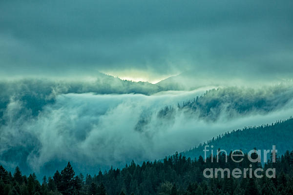 Fog Rolling Over The Montana Rocky Mountains Print by Natural Focal Point Photography