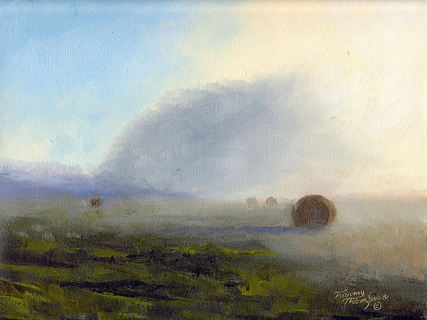 Foggy Bales Print by Tommy Thompson
