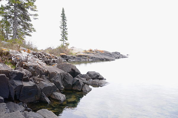 Foggy Day On Lake Superior Print by Sandra Updyke
