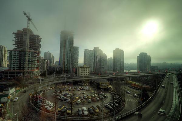 Foggy Downtown Vancouver Print by Eti Reid