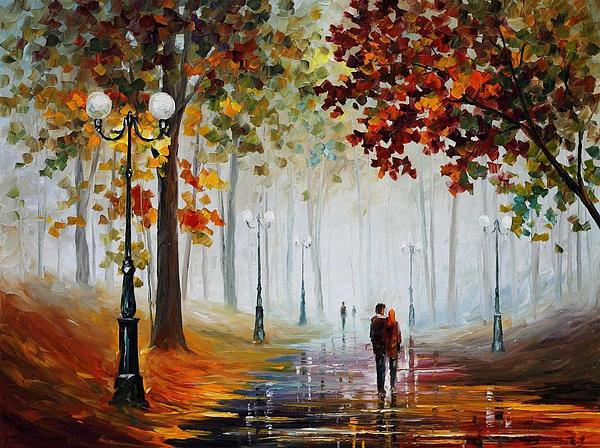 Leonid Afremov - Foggy Morning - PALETTE KNIFE Contemporary Landscape Oil Painting On Canvas By Leonid Afremov - Size
