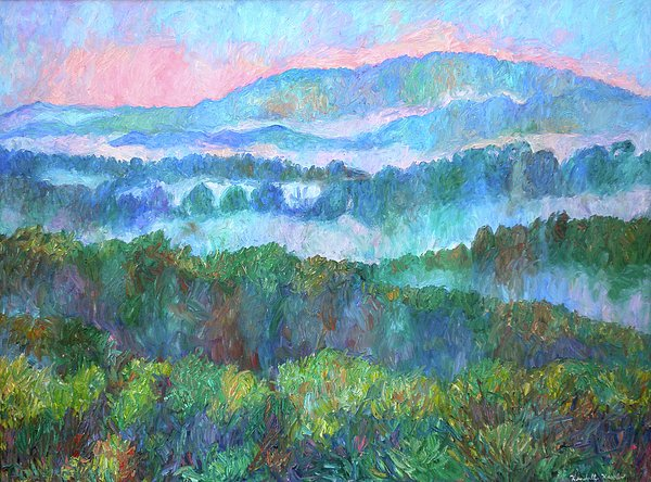 Foggy View From Mill Mountain Print by Kendall Kessler