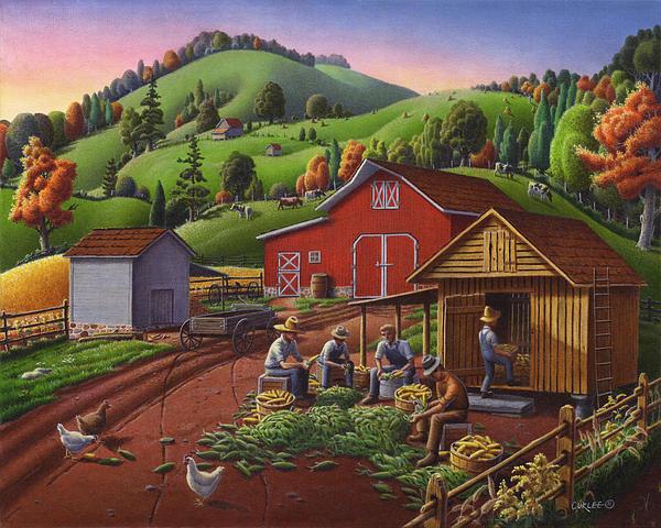 Folk Art Americana - Farmers Shucking Harvesting Corn Farm Landscape - Autumn Rural Country Harvest  Print by Walt Curlee
